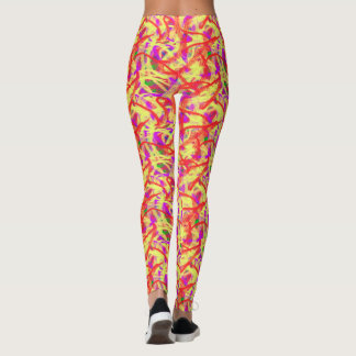 Abstract Graffiti Bright Brush Painting Leggings
