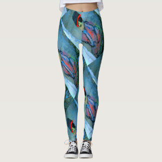 abstract graffiti girl blue green leggings