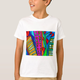 Abstract Graffiti Rainbow - City and Hearts T-Shirt