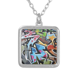 Abstract graffiti silver plated necklace
