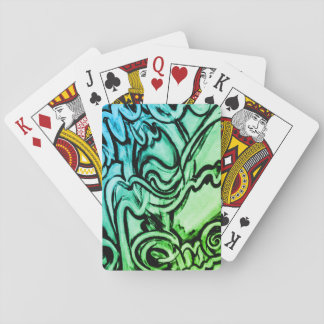 Abstract graffiti-style painting playing cards