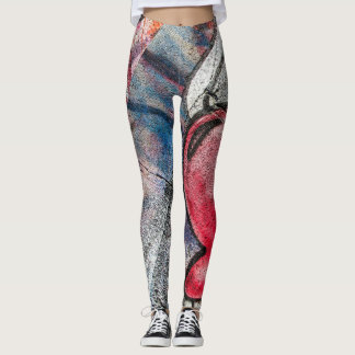Abstract Graffiti Wall Heart Wing Leggings