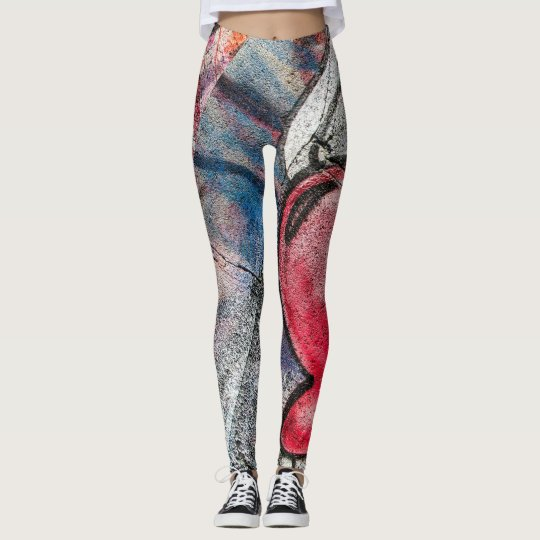 Abstract Graffiti Wall Heart Wing Leggings