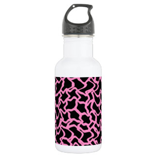 Abstract Graphic Pattern Black and Bright Pink. 532 Ml Water Bottle