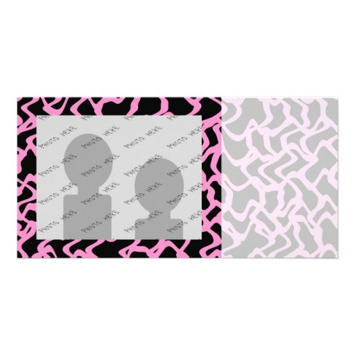 Abstract Graphic Pattern Black and Bright Pink. Customized Photo Card