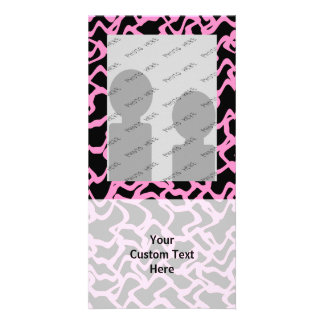 Abstract Graphic Pattern Black and Bright Pink Photo Greeting Card
