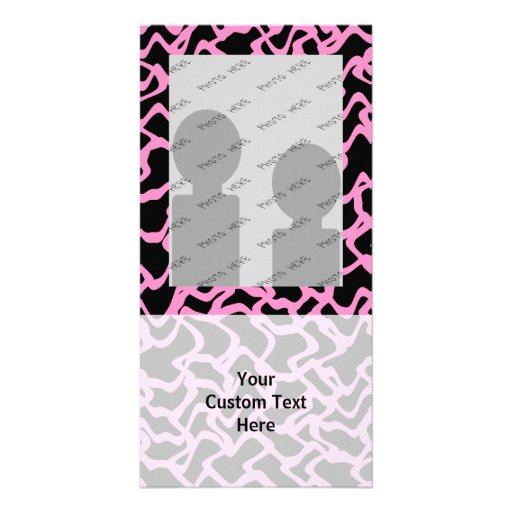 Abstract Graphic Pattern Black and Bright Pink. Photo Greeting Card