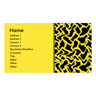 Abstract Graphic Pattern Black and Bright Yellow. Pack Of Standard Business Cards