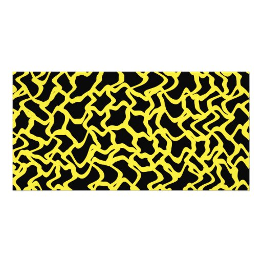 Abstract Graphic Pattern Black and Bright Yellow. Personalized Photo Card