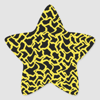 Abstract Graphic Pattern Black and Bright Yellow. Star Sticker