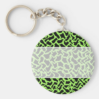 Abstract Graphic Pattern Black and Lime Green. Key Ring