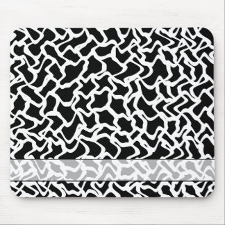 Abstract Graphic Pattern Black and White Mouse Pad