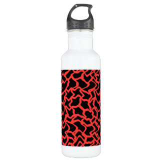 Abstract Graphic Pattern Bright Red and Black. 710 Ml Water Bottle
