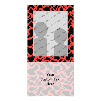 Abstract Graphic Pattern Bright Red and Black Photo Card Template