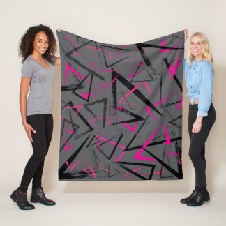 Abstract Gray and Pink Fleece Blanket