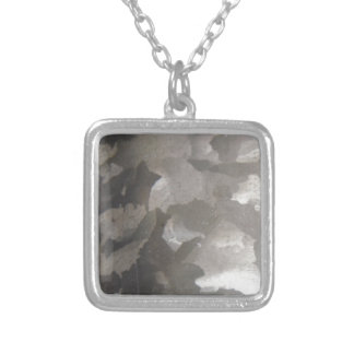 abstract gray and white metal square pendant necklace