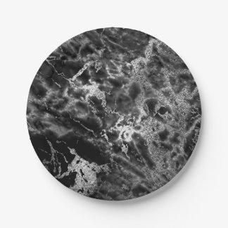 Abstract Gray Black Silver  Marble Glam Vip Paper Plate