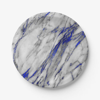 Abstract Gray Blue Navy Marble Glam Golden Vip Paper Plate