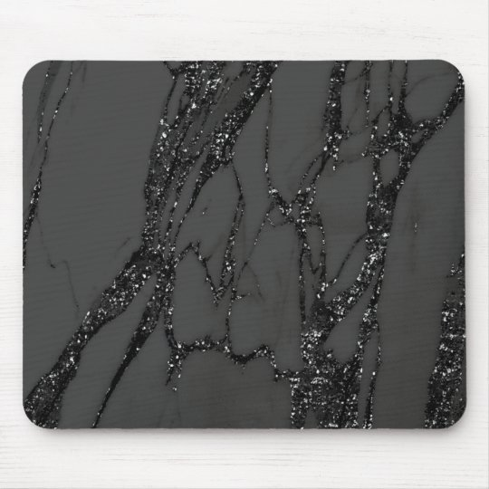 Abstract Gray Glitter Marble Graphite Black Lux Mouse