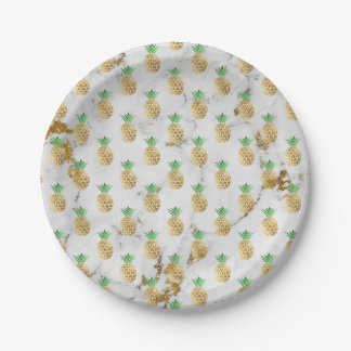Abstract Gray Gold Carrara Marble Golden Pineappl Paper Plate