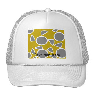 Abstract gray on gold flowers hats