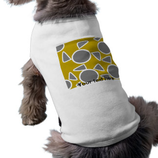 Abstract gray on gold flowers sleeveless dog shirt