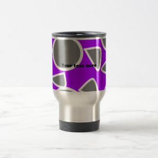 Abstract gray on purple flowers stainless steel travel mug