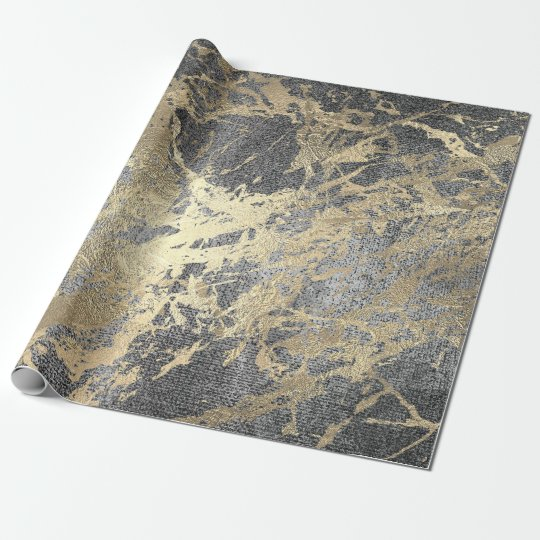 Abstract Gray Paint Golden Metallic Strokes Wrapping Paper