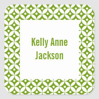 Abstract Gree Circle Book Label / Gift Tag Sticker