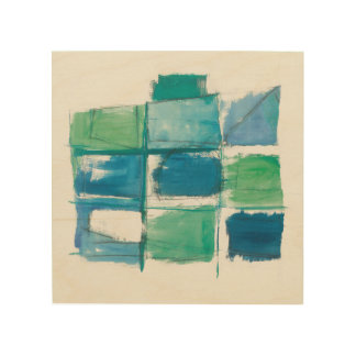 Abstract Green And Blue On White 4 Wood Wall Decor