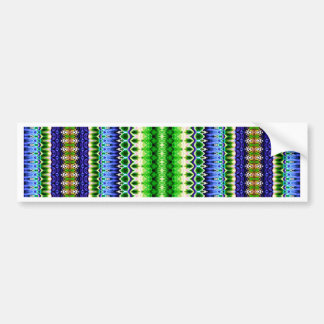 Abstract Green and Blue Tribal Chevron Pattern Bumper Stickers