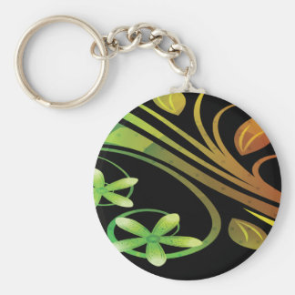 Abstract Green and Orange Flowers on Black Keychain