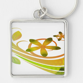Abstract Green and Orange Flowers on White Key Chain