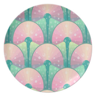 Abstract Green And Pink Seamless Pattern Plate