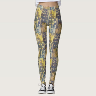 abstract green and yellow leggings