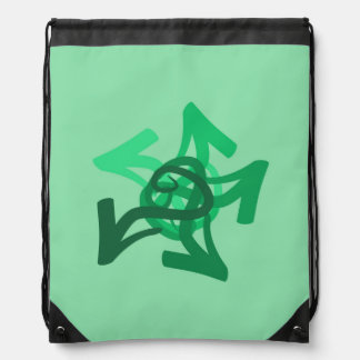 Abstract Green Arrows Drawstring Backpack