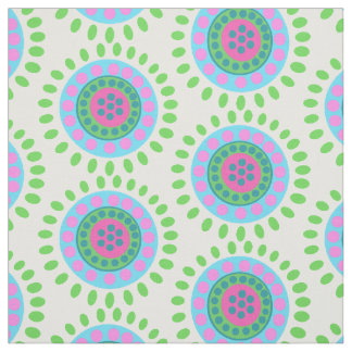 Abstract green blue and pink flowers fabric