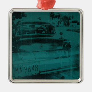 Abstract green car Silver-Colored square decoration