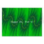 Abstract Green Digital Art St. Pat's Greeting Card