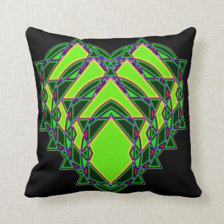 Abstract green heart throw pillow