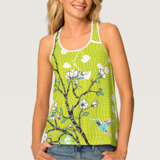 Abstract Green Hummingbird Floral Pattern Tank Top
