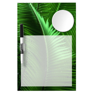 Abstract Green Leaves Dry Erase Board With Mirror