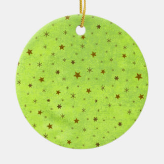 Abstract green paper with gold sparkly stars christmas ornament