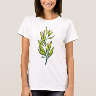 Abstract Green Plant Decorative Botanical Spring T-Shirt