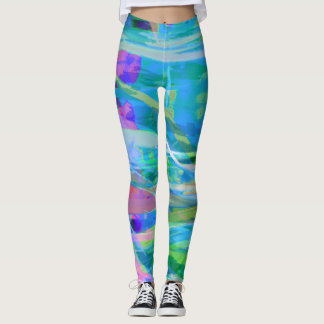 Abstract Green Purple Aqua Design Leggings