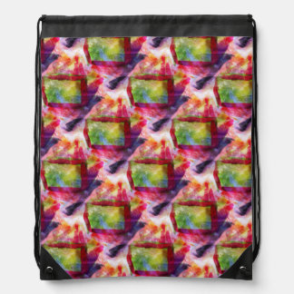 Abstract green, red wallpaper drawstring bag