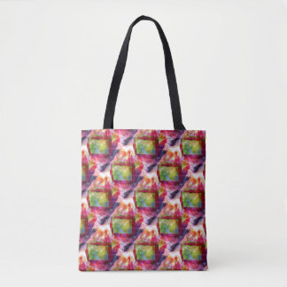 Abstract green, red wallpaper tote bag