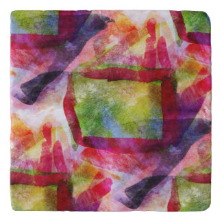 Abstract green, red wallpaper trivets