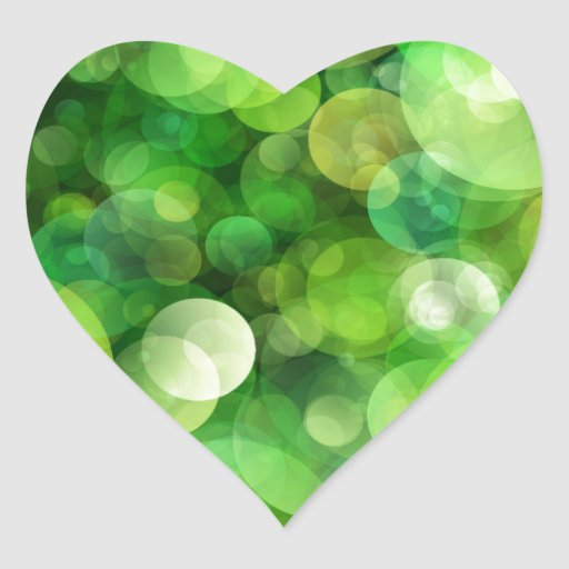Abstract Green Spotted Spots Heart Sticker