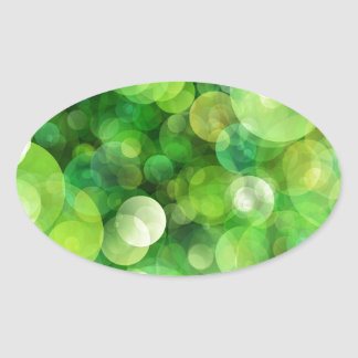 Abstract Green Spotted Spots Oval Sticker